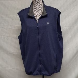 Navy vineyard vines fleece knit vest